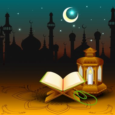 Quran with lamp on Eid Mubarak background