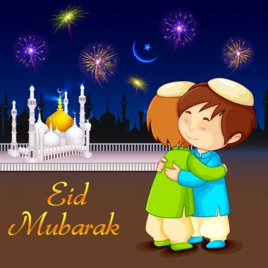 People hugging and wishing Eid Mubarak