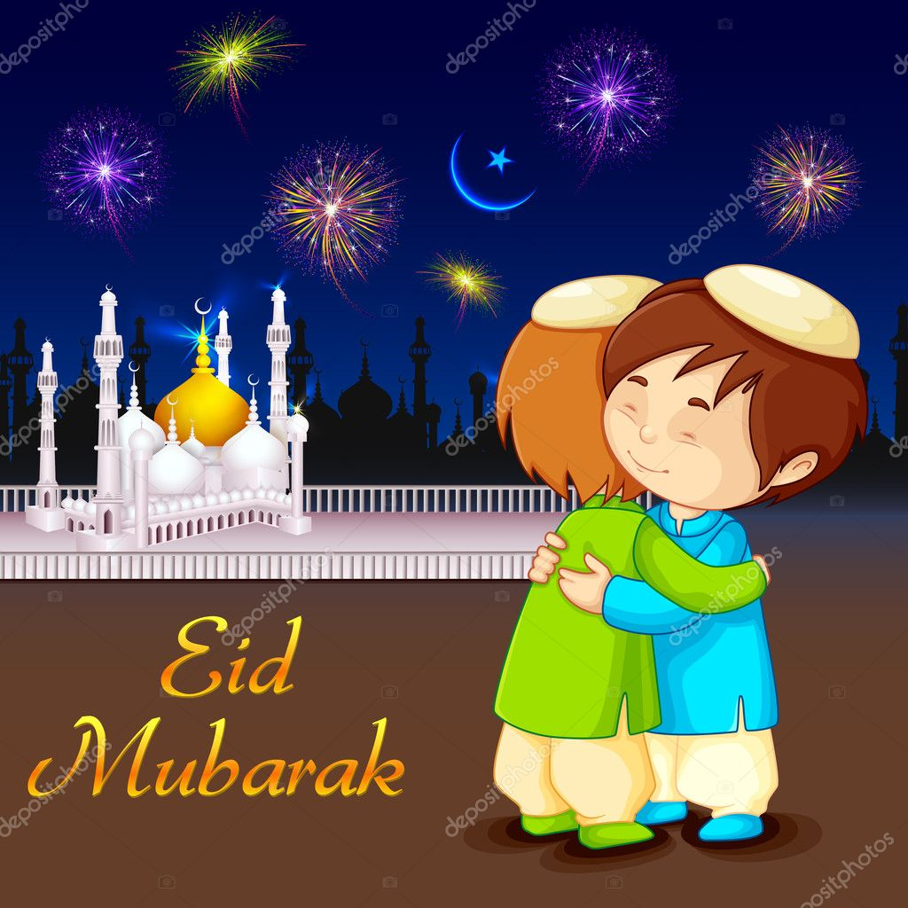 People hugging and wishing eid mubarak stock vector stockshoppe people hugging and wishing eid mubarak stock vector m4hsunfo
