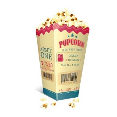 Movie Ticket printed on Popcorn box