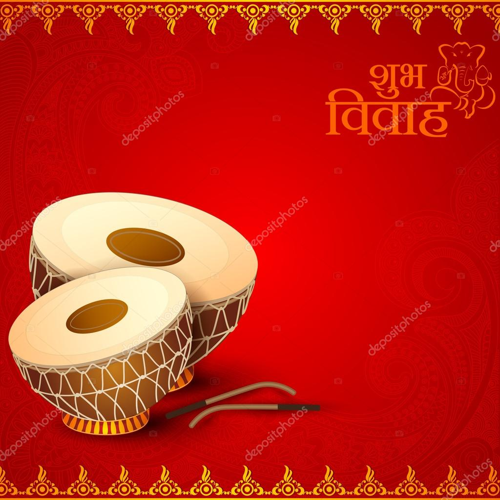 Drum in indian wedding invitation card stock vector stockshoppe drum in indian wedding invitation card stock vector stopboris Images