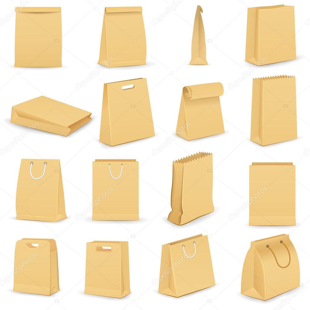 Paper bag vector - Vector Illustration Of Collection Of Brown Paper Bag Vector By Stockshoppe