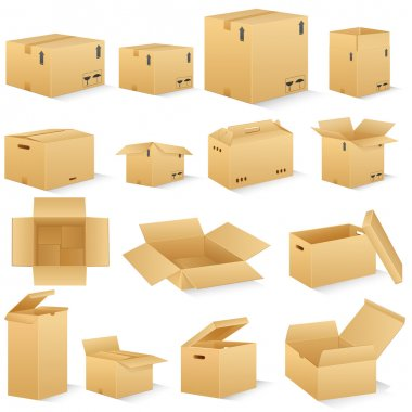 Vector illustration of different shape carton box stock vector