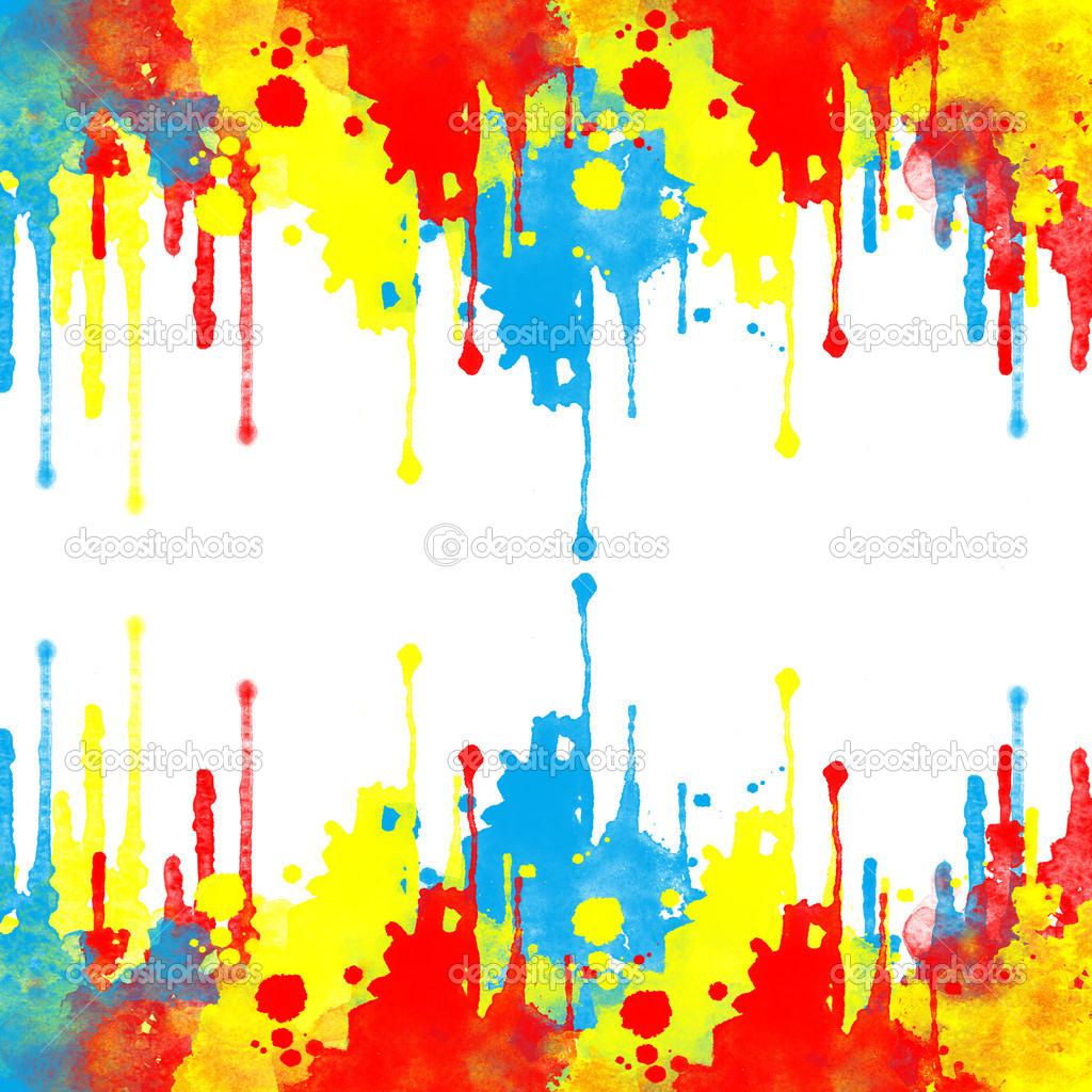 bluered and yellow splash on white background � stock