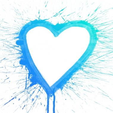 Colorful blue splash heart