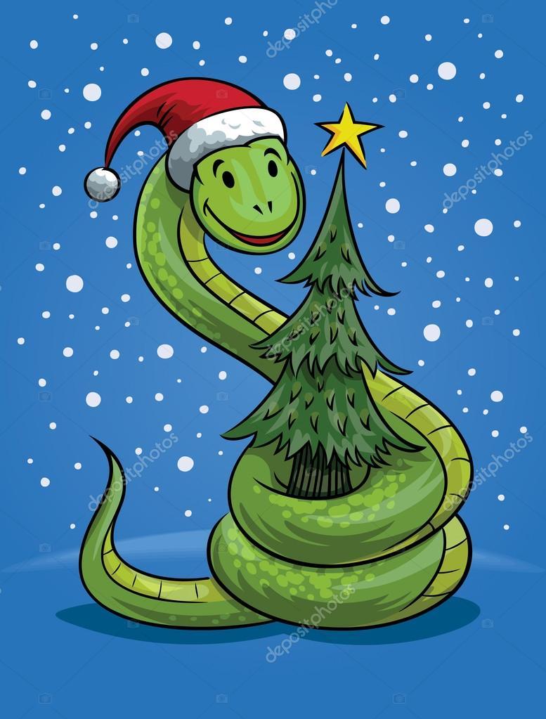Weihnachten Schlange cartoon — Stockvektor © digiselector #16210987