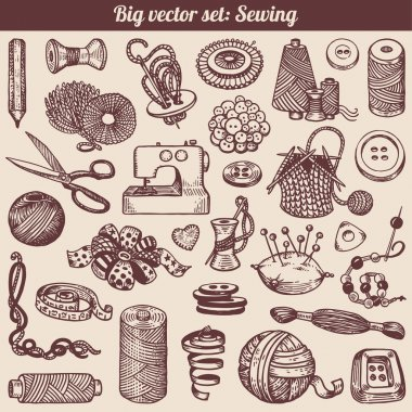 Sewing And Needlework Doodles Collection