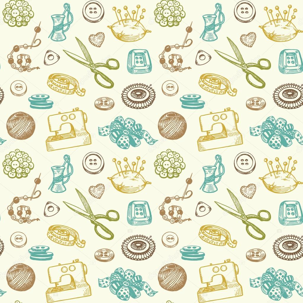 Nähen und Handarbeiten doodles nahtlose Muster Vektor — Stockvektor ...