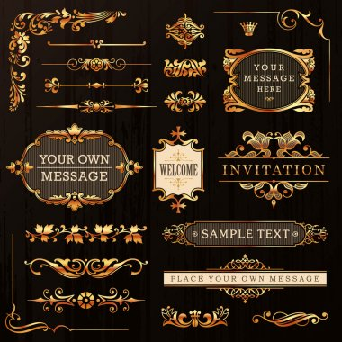 Vintage Golden Calligraphic Design Elements And Page Decoration Vector clip art vector
