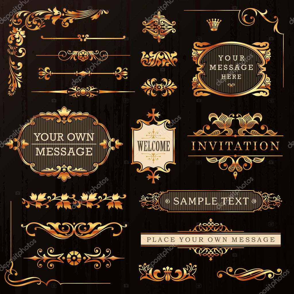 Vintage Golden Calligraphic Design Elements And Page Decoration