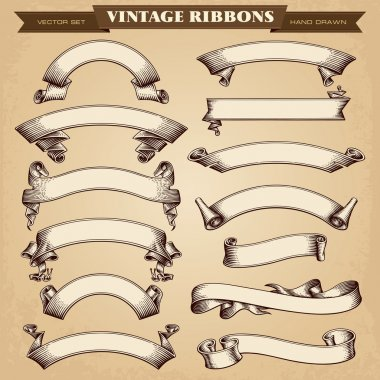 Vintage Ribbon Banners Vector Collection stock vector