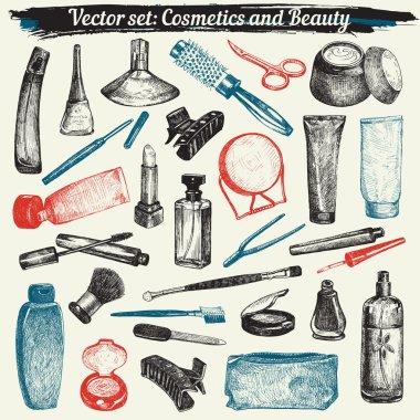 Cosmetics And Beauty Doodles Set Vector