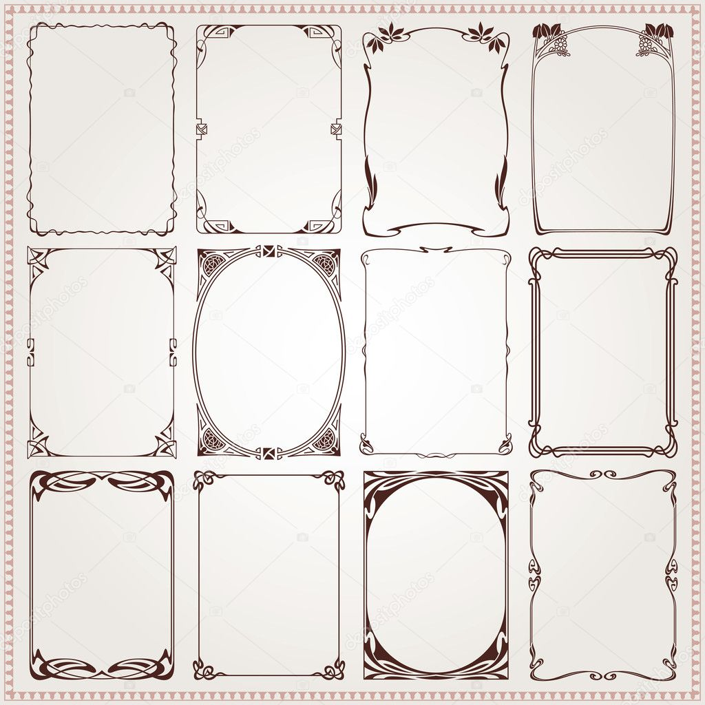 Decorative vintage borders and frames Art Nouveau style vector stock vector