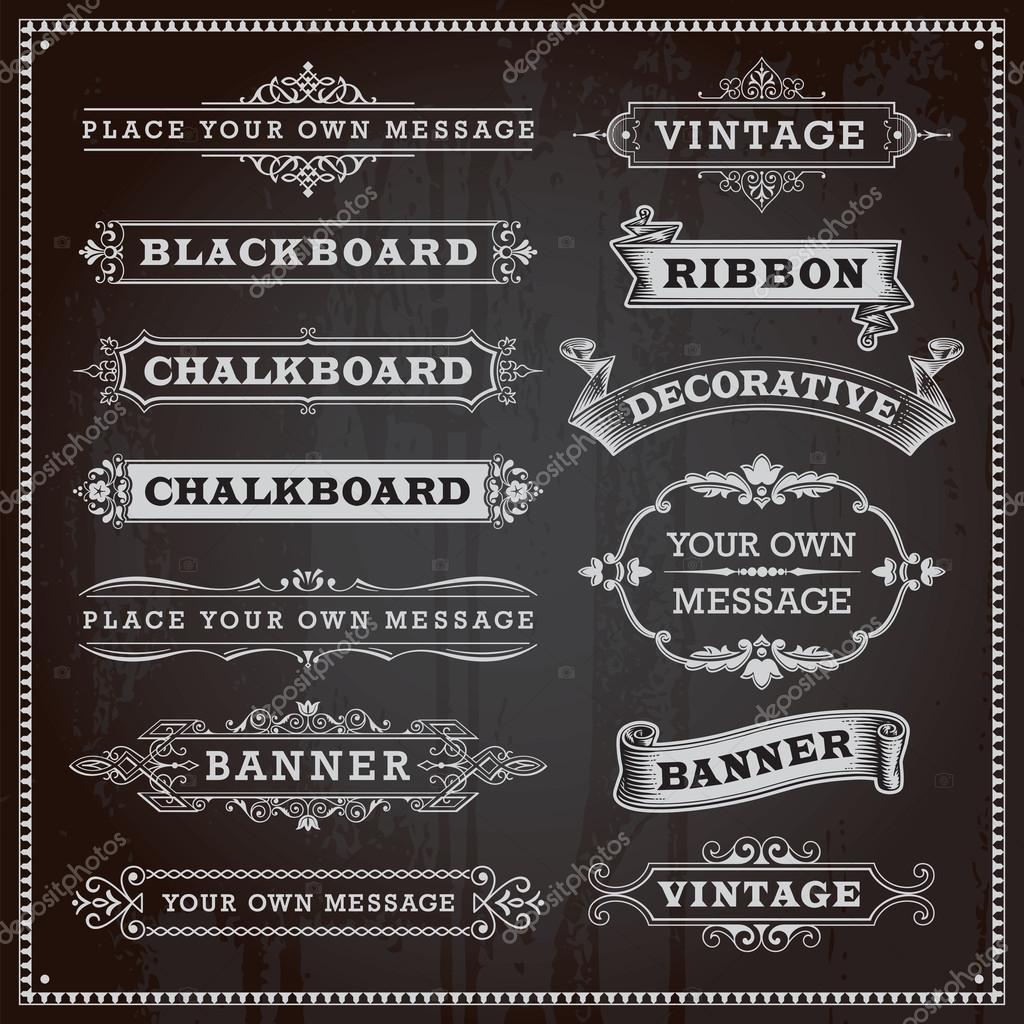 elementos de diseo vintage marcos y cintas banderas pizarrn u vector de stock