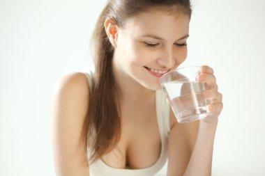 Water. Happy Woman Drinking Water