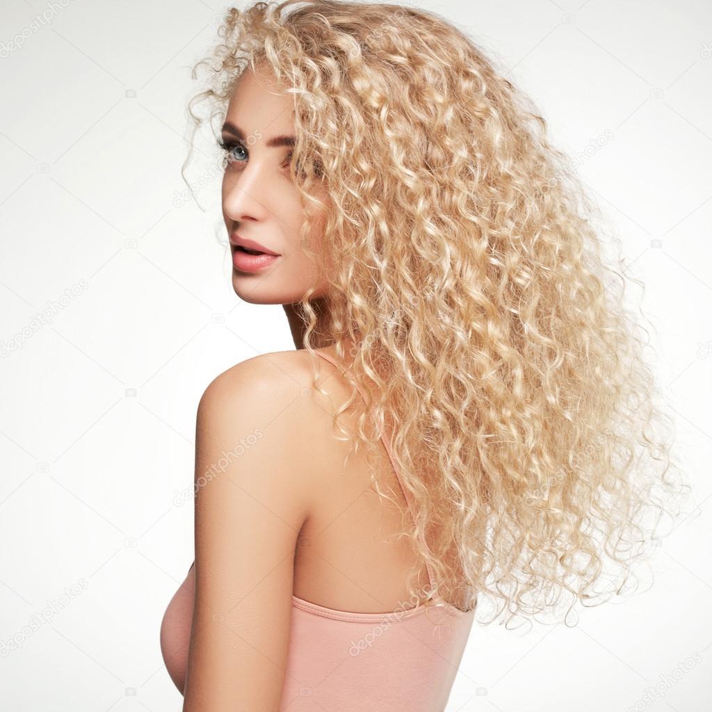 Blonde Haare Schöne Frau Mit Langen Locken Hohe Qualität