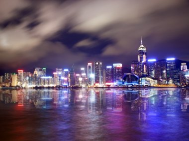 Beautifuly lit skyscrapers in Hong Kong