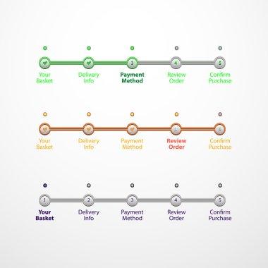 Vector set of ui elements step by step progress, eps 10 clip art vector