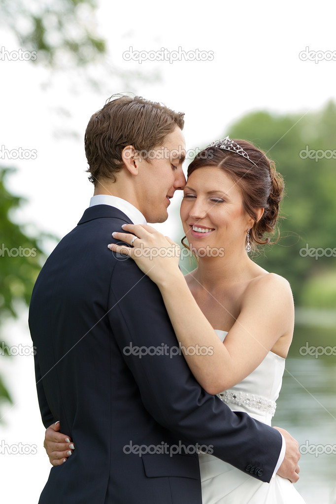 Young Newlywed Couple In Romantic Pose Stock Photo Oljensa 17186943