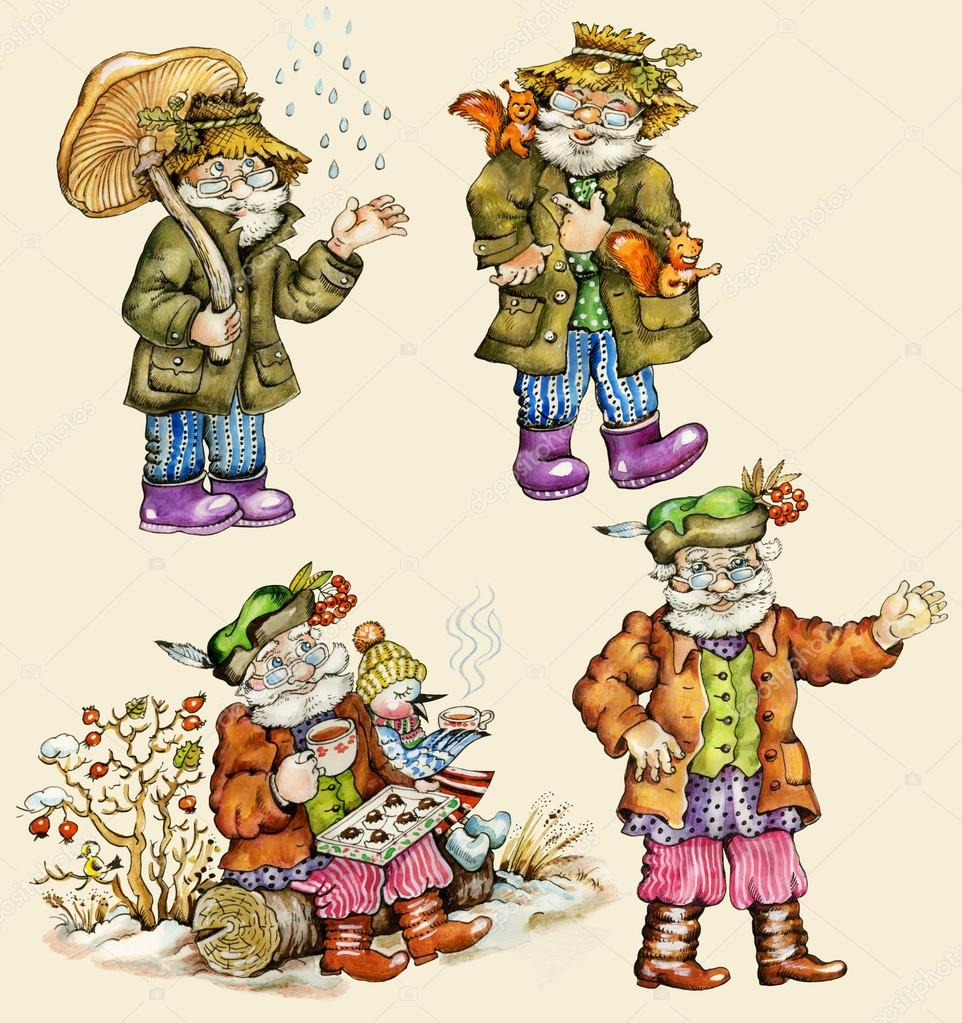Little funny forest old man characters autumn collection.