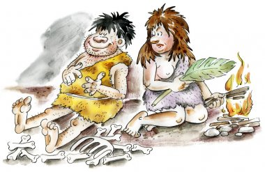 Cartoon cavemen and woman by the fire