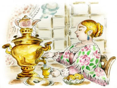 Pretty woman at tea table with samovar