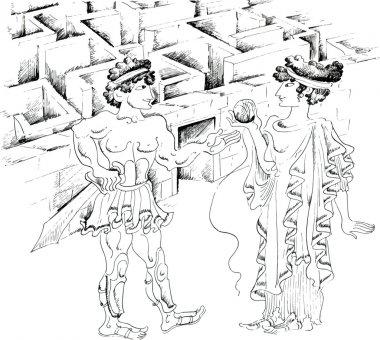 Theseus and Ariadne against Minotaur labyrinth