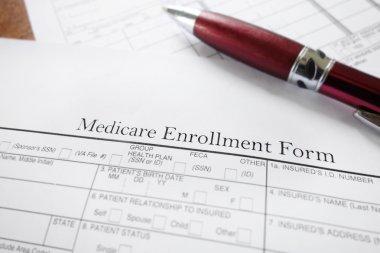 Closeup of a Medicare insurance enrollment form stock vector