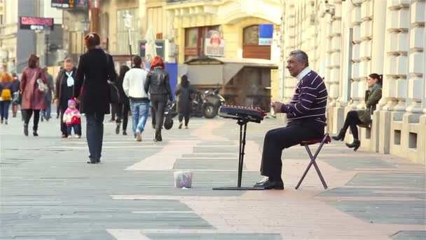 Busker playing the cimbalom
