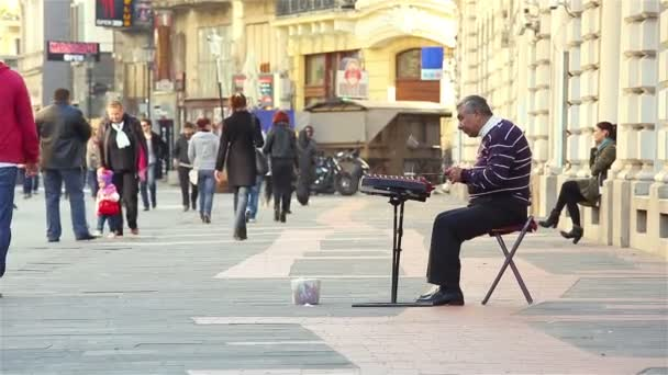 Artist playing the cymbalon downtown