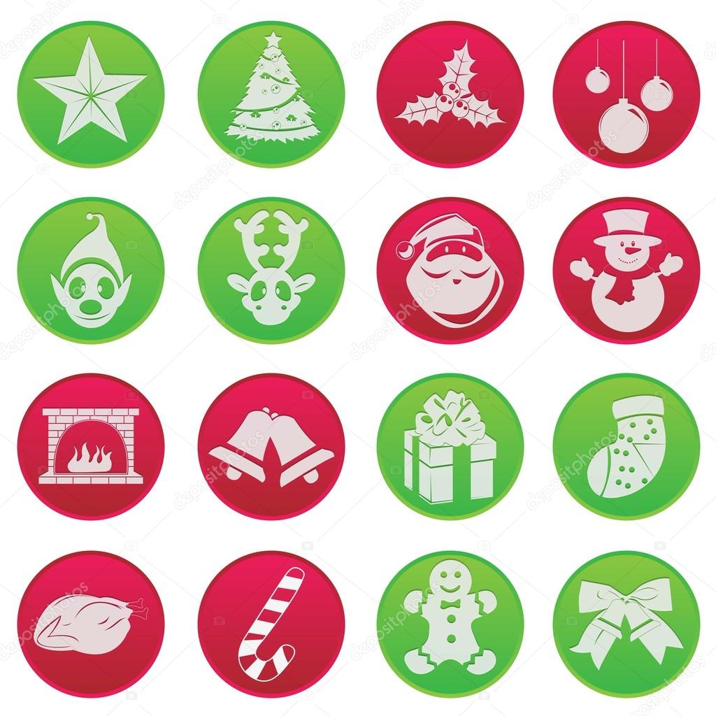 christmas fun icon set pictogram stock vector. Black Bedroom Furniture Sets. Home Design Ideas