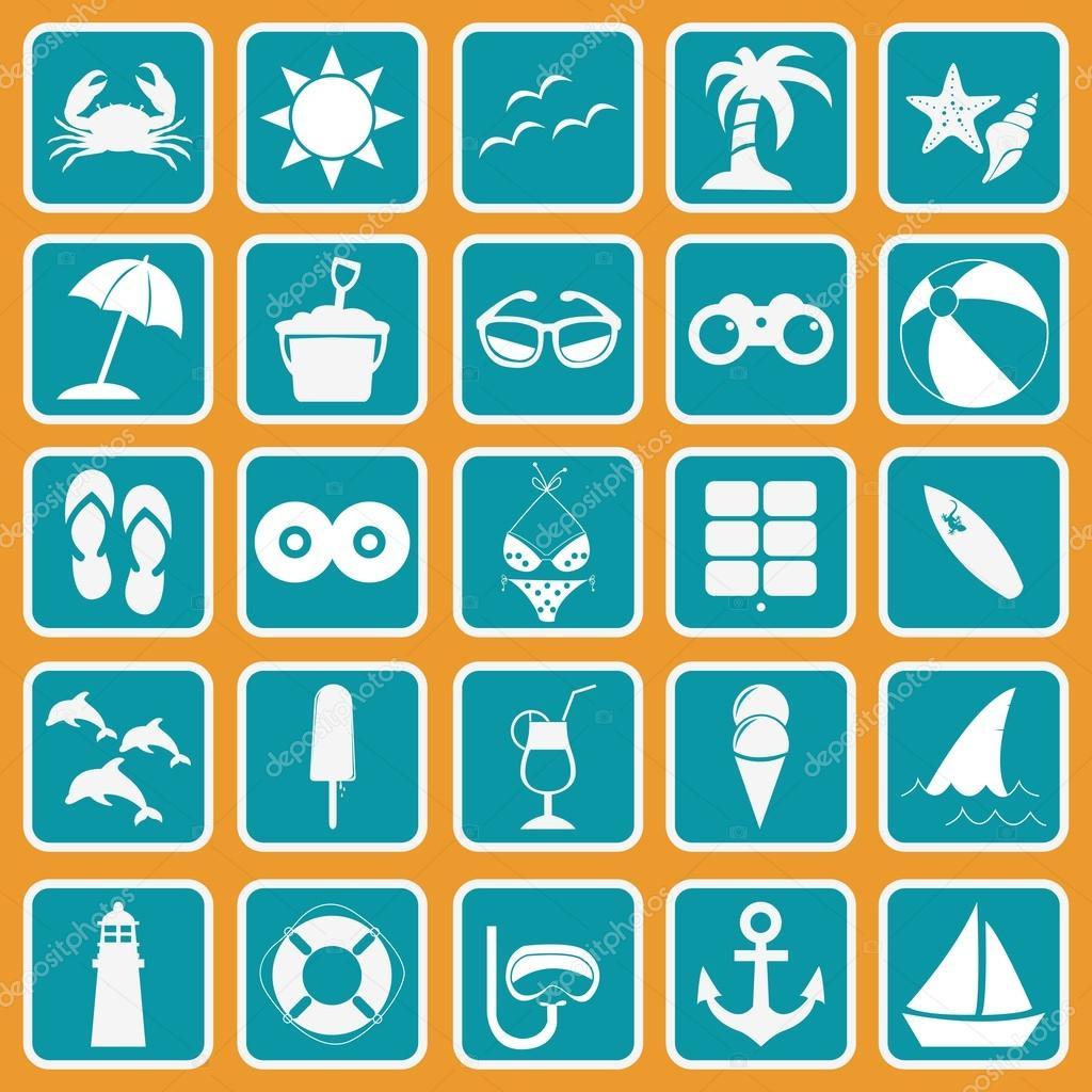 Spring Break icon set basic style