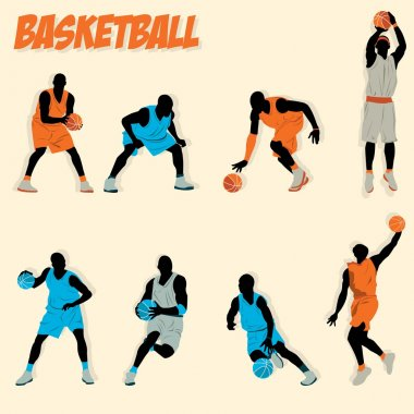 lots of basketball action do some shooting dribbling defense offense jump slam dunk