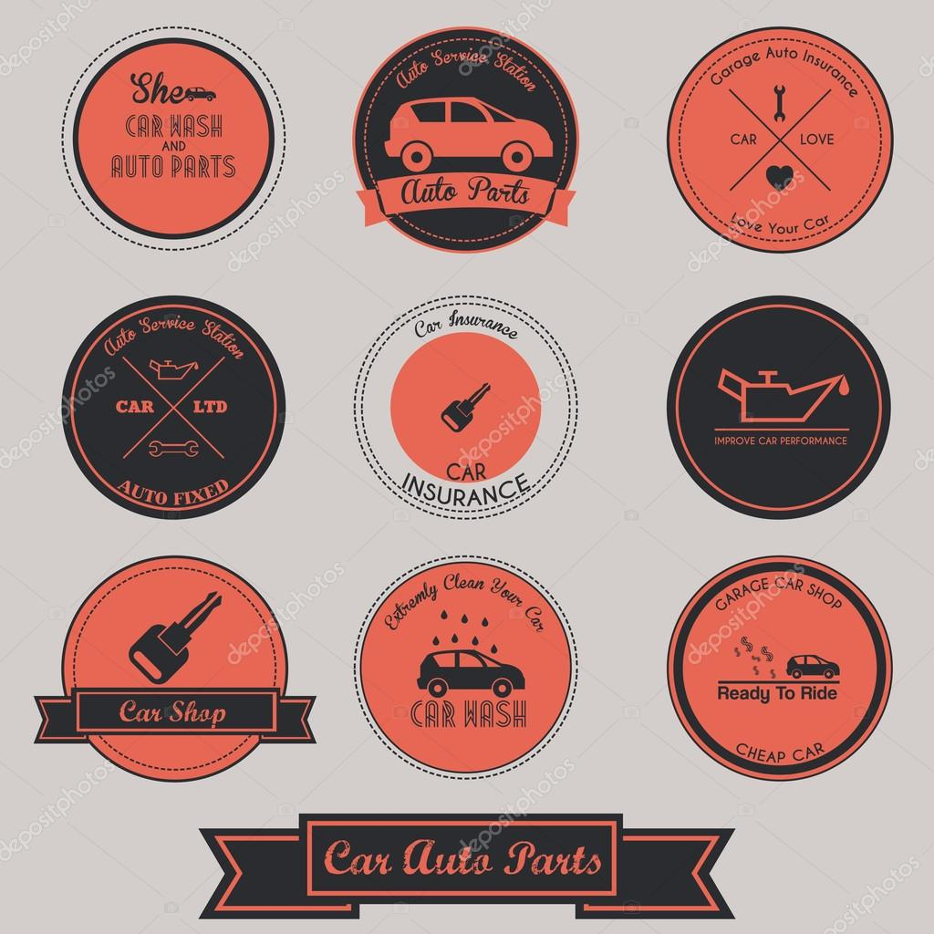 Car Auto Parts Vintage Label Design — Stock Vector © ragakawaw ...