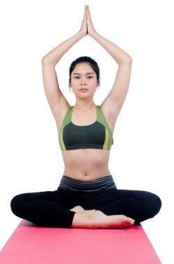 Beautiful young asian woman in yoga pose