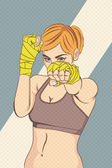 Photo Asian Female Fighter with halftone effect
