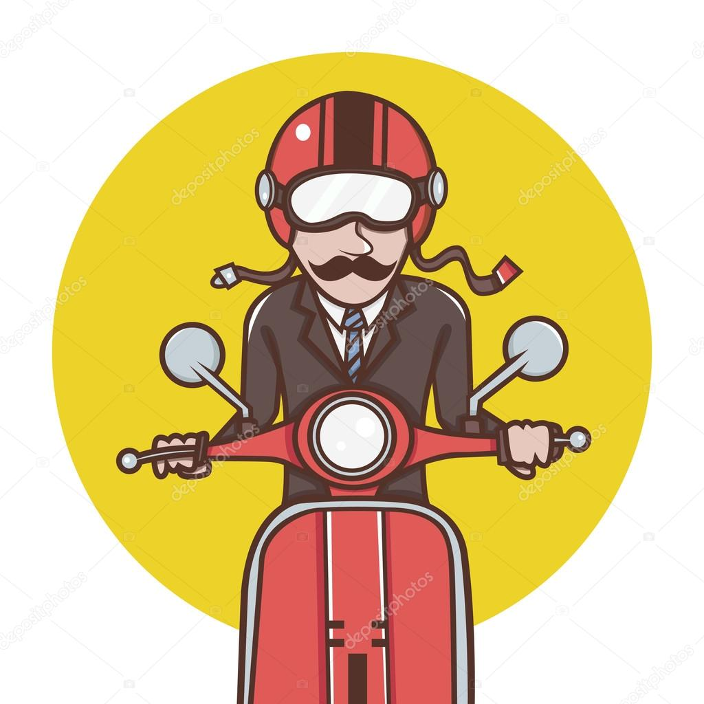 Man with red helmet riding a red scooter