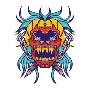 Red skull with blue hair tattoo design Illustration