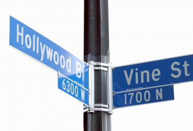 Street sign of Hollywood Blvd and Vine St. isolated over a white background. stock vector