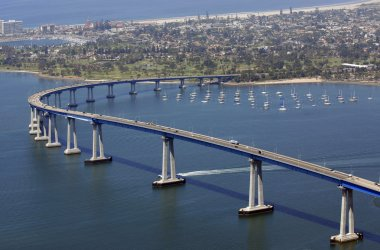 Panoramic view of San Diego's Coronado Bay Bridge