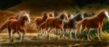 An artistic illustration of several wild horses running. stock vector