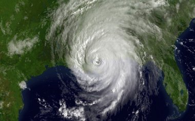 Satellite photo of Hurricane Katrina over The Gulf of Mexico