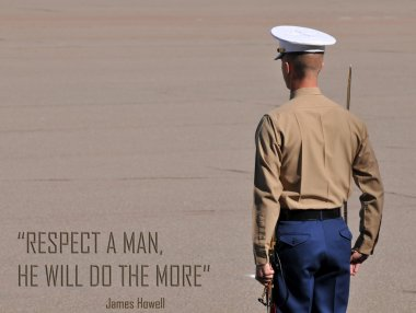 United States Marine Corps Officer Standing At Attention