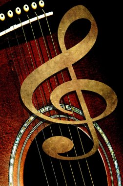 Treble clef on the background of the guitar