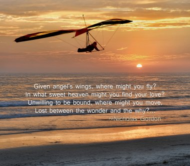 Hang glider with a beautiful sunset background