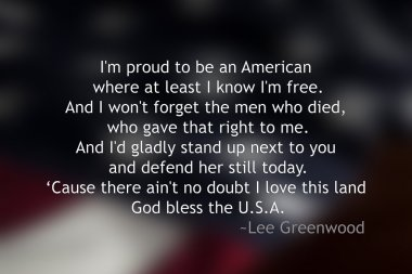 Blurred American Flag with quote in front