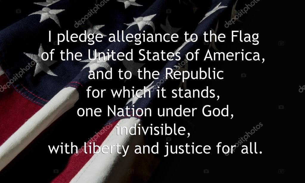 Promessa De Fidelidade Sobre A Bandeira Americana Stock