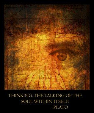 Vitruvian man and staring human eye