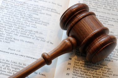 Wooden gavel and Bible