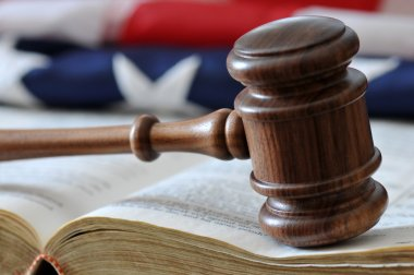 Gavel, book, and flag background.